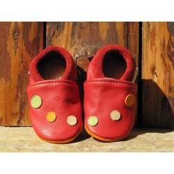 chaussons cuir rouge brique