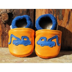 chaussons cuir bicolore camions