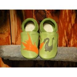 Chaussons dragon vert pomme/kaki