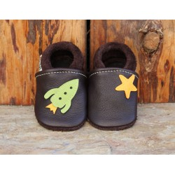 chaussons cuir galaxie chocolat/vert pomme
